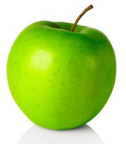 Fresh green apple, on white background, cut out